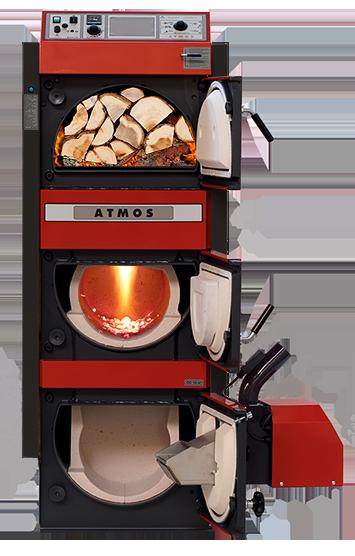 Kombinovaný kotel Atmos na dřevo s hořákem na pelety 27 kW