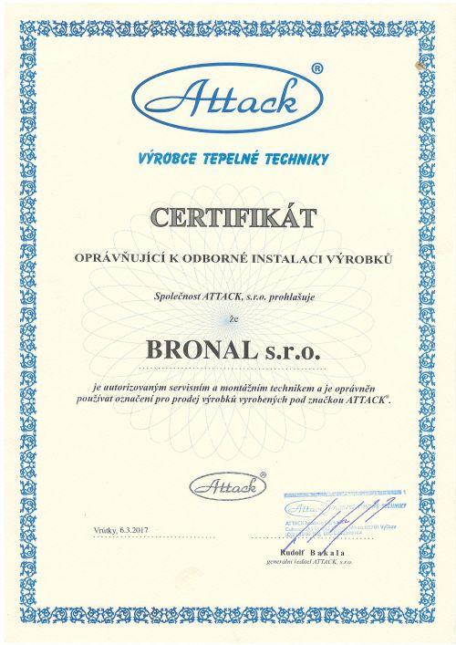 Oprávnění k instalaci, provozu a údržbě spalovacího stacionárního zdroje Attack