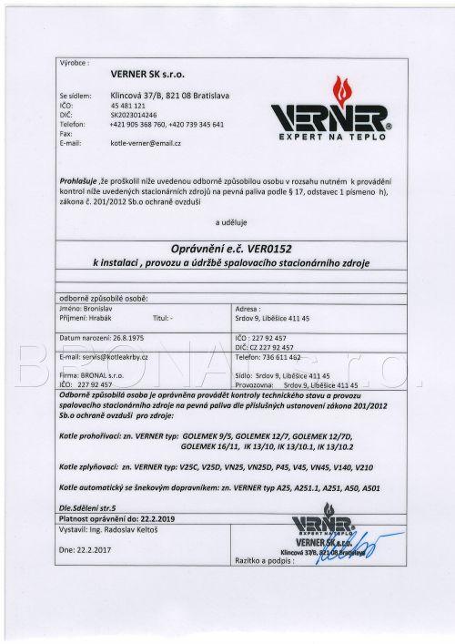 Oprávnění k instalaci, provozu a údržbě spalovacího stacionárního zdroje kotle Verner
