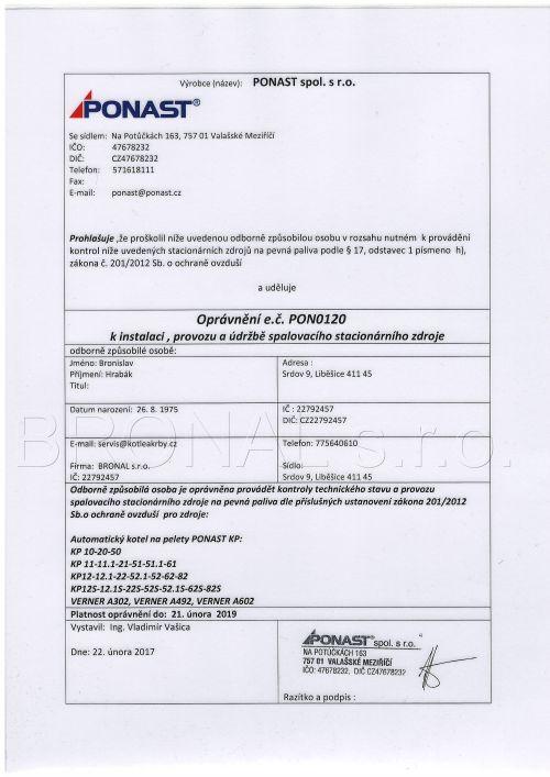 Oprávnění k instalaci, provozu a údržbě spalovacího stacionárního zdroje Ponast