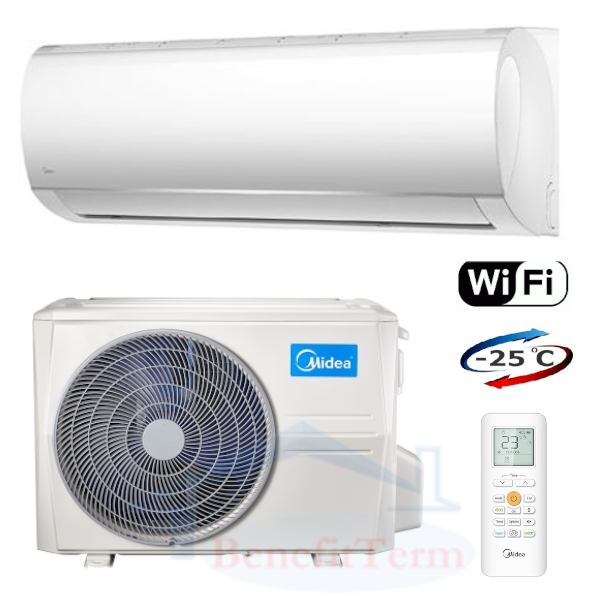 Splitová nástěnná klimatizace značky Midea, základní model Blanc 3,5 kW se zabudovaným Wi-Fi ovládáním