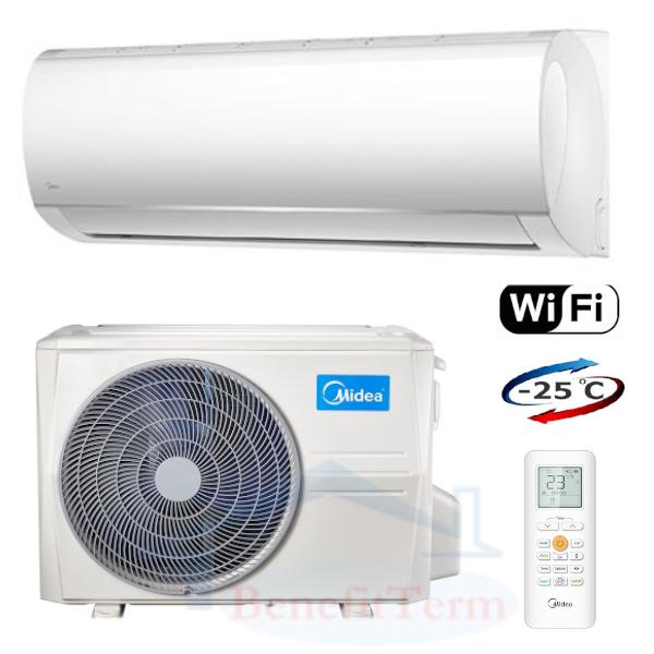 Splitová nástěnná klimatizace značky Midea, základní model Blanc 2,6 kW se zabudovaným Wi-Fi ovládáním